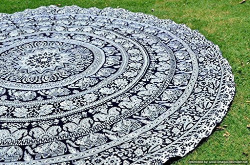 Popular Handicrafts Popular Black and White Indian Mandala Roundie Round Tapestry Elephant mandala Beach Tapestry Hippie Mandala Boho Gypsy Yoga - Picnic - Beach Throw round table cloth by (Elephant Beach)