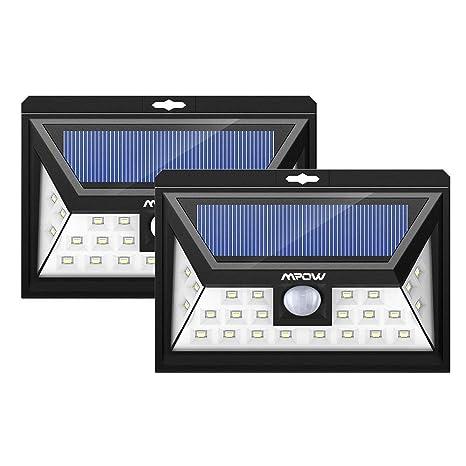 Luces solares Mpow Lámpara Wireless solar para exteriores, impermeable, con sensor de movimiento, luces solares para exterior con 20 bombillas LED ...