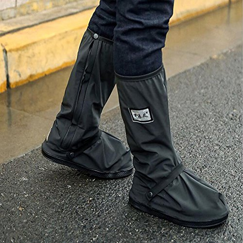 Thick Waterproof Motorcycle Bike Shoe Covers,Reusable Cycling Shoe Protective Gear Snow Rain Boot Shoe Cover Protector (Black, Sole 12.6inch)