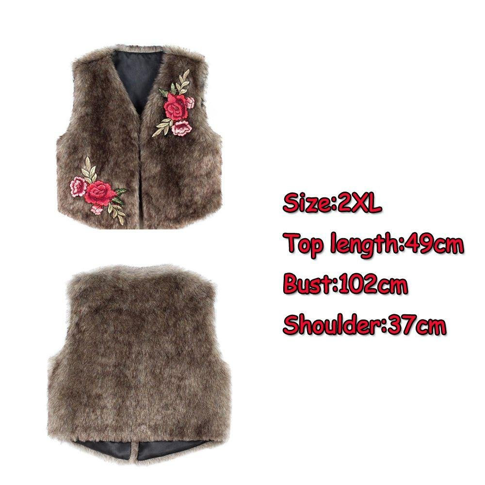 Seazhio Women Sleeveless Winter Short Jacket Embroidery Imitation Fur Vest Faux Rabbit Fur by Seazhio
