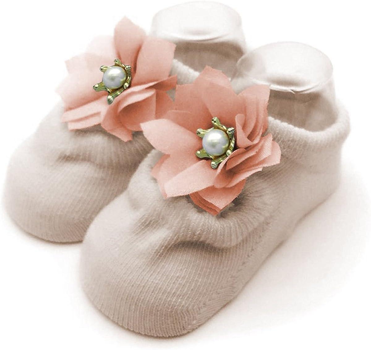 6Pairs Non-skid Baby Girls Lace Jane Socks Toddler Cotton Bowknot Walker Socks