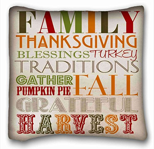 Tarolo Decorative Pillow Case Family Thanksgiving Blessings Turkey Traditions Gather Pumpkin Pai Fall Grateful Harvest Printable Home Decor Throw Pillowcase Pillow Cover Sofa Size 16x16Inches One Side