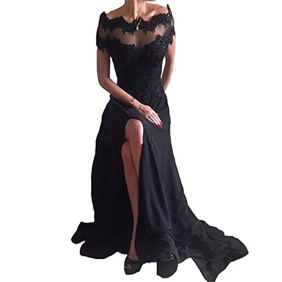 Yuxin Black Chiffon Evening Dress Lace Beaded Sexy High Slit Long Prom Dress 2017 Party Dresses
