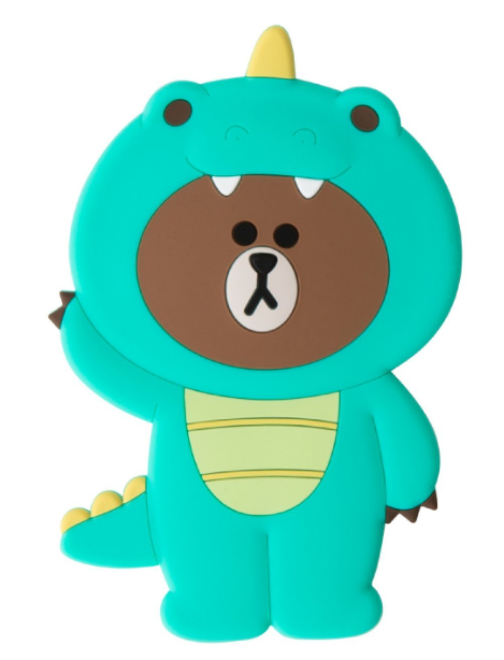 LINE FRIENDS Jungle Brown Silicon Dino Hand Mirror One Size Green