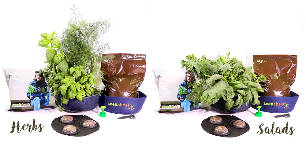 Seedsheet, Grow Your Own Salad and Herbs Kit, Container Garden, Organic Seed Pods, As Seen on Shark Tank by Seedsheet