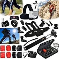 Xtech JOGGING ACCESSORIES Kit for GoPro Hero 4 3+ 3 2 1 Hero4 Hero3 Hero2, Hero 4 Silver, Hero 4 Black, Hero 3+ Hero3+ Hero 3 Silver, Hero 3 Black and for Travel, Traveling, Hiking, Climbing, Camping, Biking, Rappelling, Rock Climbing, Mountain Climbing, Wall Climbing and other Similar Sports Activities Includes: Head Strap Mount + Selfie Stick Monopod Pole + Helmet Harness Mount + Chest Strap Mount + Camera Wrist Mount + MORE