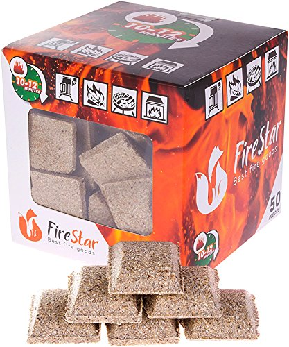 Best Lump Charcoal - Fire starter cubes - bbq and grill charcoal starter - pack 50 pcs - natural firestarter squares 100% Waterproof - fireplace starters - burns up to 12 min - Firestarter - igniter for fire