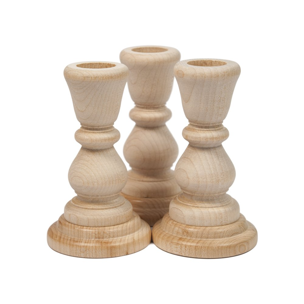 Candlestick Holders   Unfinished Wooden 4 Inch - Bag of 3