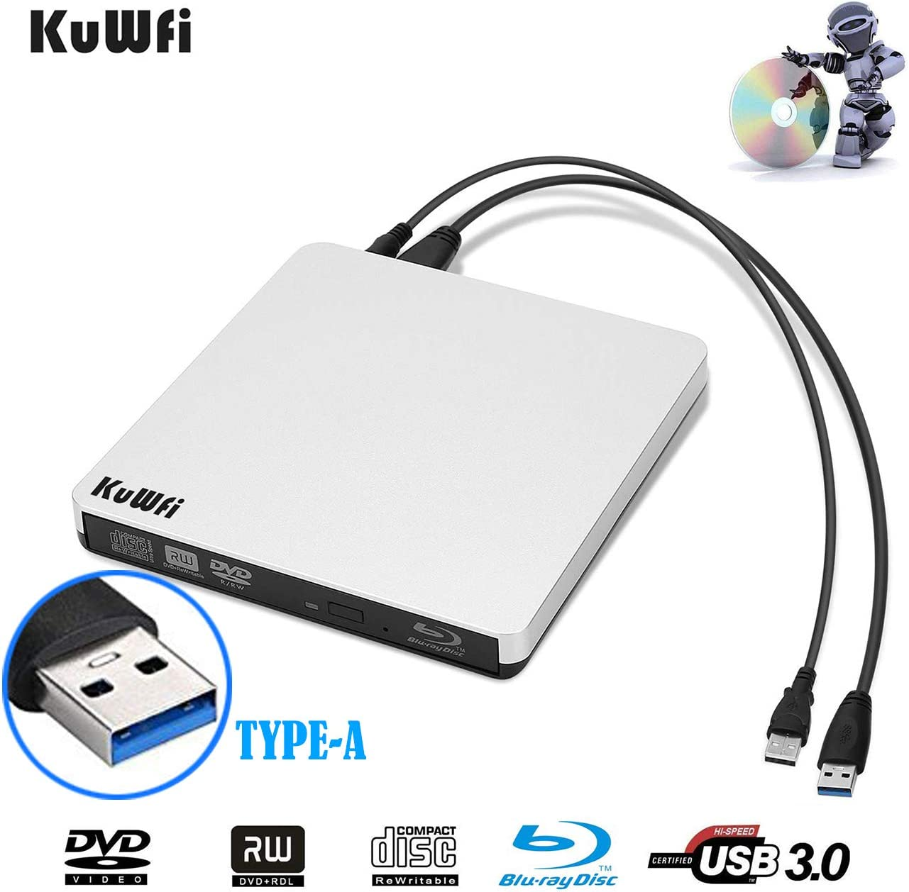 KuWFi External Blu Ray Drive USB 3.0 Player External CD/DVD Burner/Writer Blu-Ray Portable Drive Optical Drive Support 3D for MAC PC Laptop Notebook