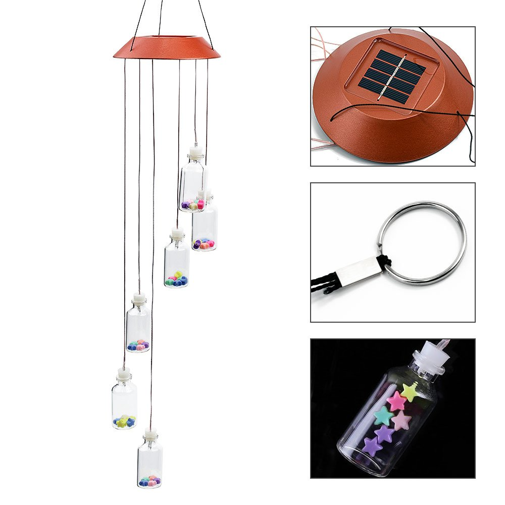 Locisne Color-Changing Solar LED Mobile Wind Chimes,6 Wishing Bottles Automatic Lights Sensor Hanging Lamp Decor for Garden, Home, Party, Balcony, Porch, Patio, Festival Gift