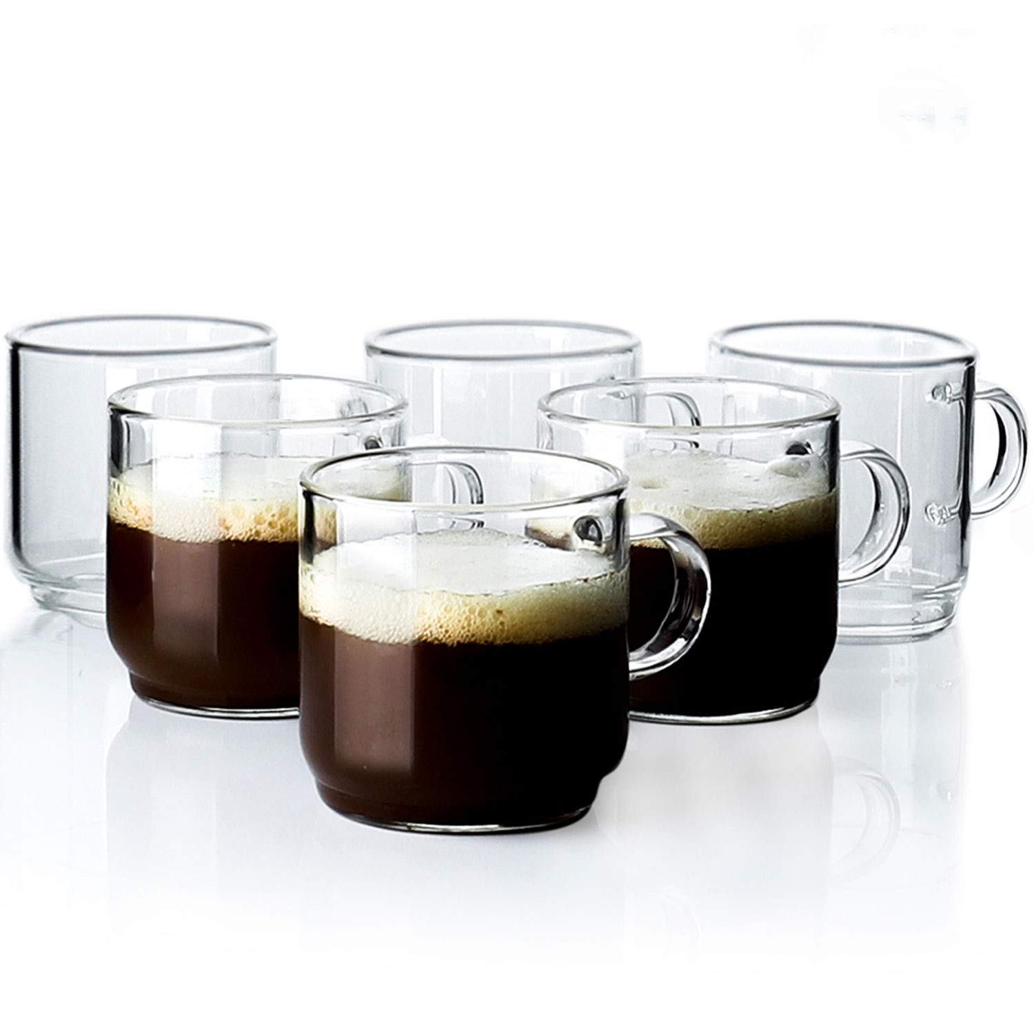 Sweese 4699 Espresso Cups with Handle - Single Walled Borosilicate Glass - 3.4 Ounces, Set of 6