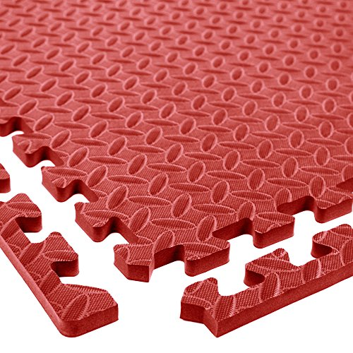 Diamond Soft Extra Thick Anti Fatigue Interlocking Foam Tiles - 2ft x 2ft Tiles Ideal for Laundry Room Flooring, Kitchen Mats, Exercise Mats, and Garage Mats (Red, 6 Tile Pack, 24 Sqft)