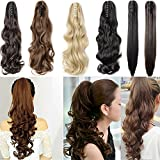 S-noilite 18 Inches Dark Brown Long Wave Claw Clip on Ponytail Hair Extensions Hairpiece Pony Tail Extension for Girl Lady Women