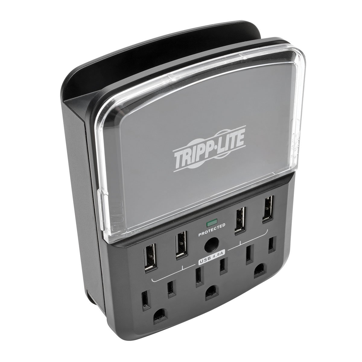 Black TLP4BK /& $25,000 INSURANCE Direct Plug In Tripp Lite 4 Side Mounted Outlet Surge Protector Power Strip