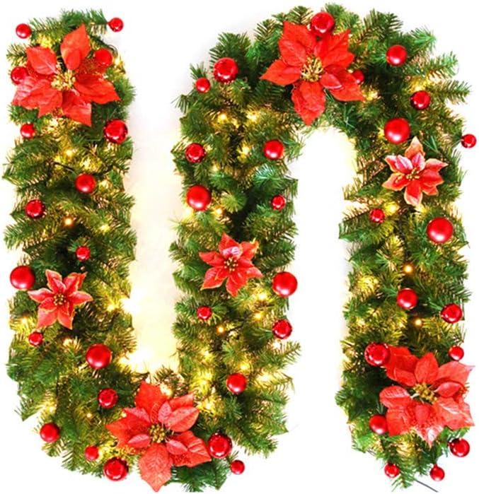 OurLeeme Guirnalda de Navidad con luz 2,7 m Guirnalda De Pino Artificial Flor De Navidad con Luz para La Decoraci/ón del Hogar,Azul