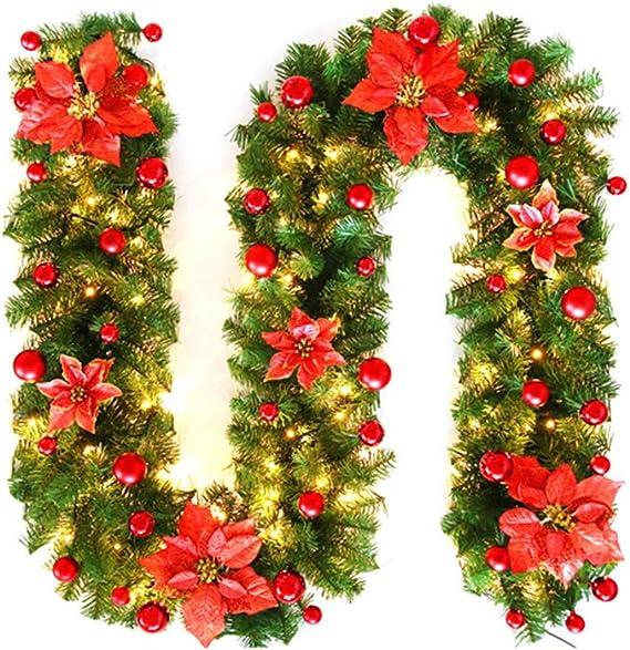 Caminetti Forniture per Feste Bowknot Bianco Dorato Bar Centro Commerciale Albero di Natale Luo-401XX Decorazioni per Ghirlande Natalizie da 200 Cm Scale Ornamento Festivo Ghirlanda Decorata