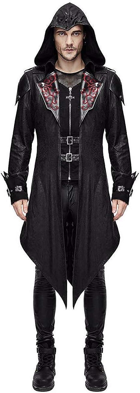 Zip Up Costume Hoodie Men Steampunk Jacket Medieval Long Gothic Victorian Frock Tailcoat for Halloween JJK001