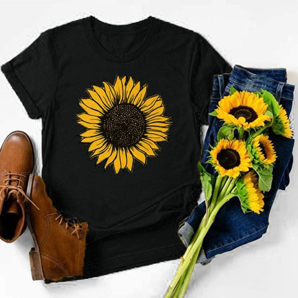 Women Give Me The Beat Boys America Sunflowers Top Casual Tee Blouse T-Shirt