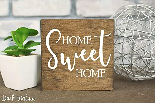 C-US-lmf379581 Home Sweet Home Cartel de Madera teñida ...