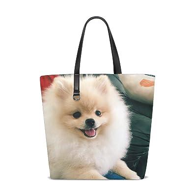 Amazon.com  Animal Dog Pomeranian Fluffy Small Puppy Adorable Pet Cute Tote  Bag Purse Handbag For Women Girls  Shoes 670b4ffb68