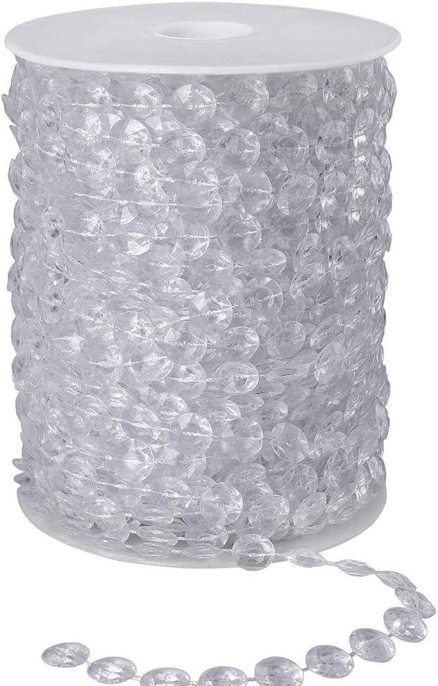 Cuentas de Cristal Guirnalda,30 Metros Perlas de Garland cristal lámpara araña cadena trand cortina colgante para Decoraciones caseras de Navidad para Banquetes de Boda artesanía DIY transparentes