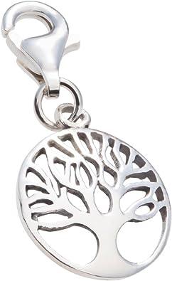 Charm Anhänger Weltenbaum Lebensbaum 925 Sterling Silber mit Karabinerverschluss für Bettelarmband Kette