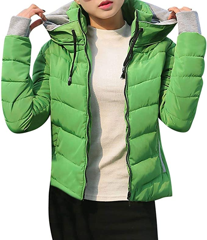 SEWORLD Winterjacke Damen Wintermantel Lange Daunenjacke Jacke Dicke Oberbekleidung Kapuzenmantel Kurze,36 DEL CN