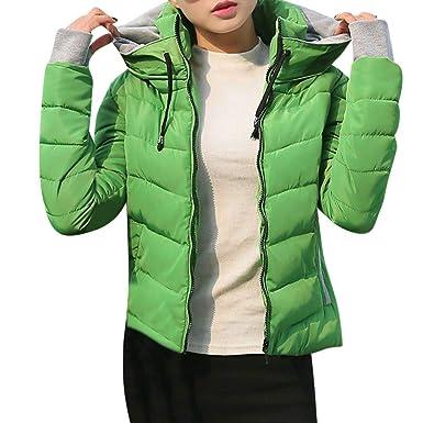 fb0124f6a9 Amphia - Damen einfarbig Revers Langarm Baumwolle Jacke,Frauen Dicke  Oberbekleidung Mit Kapuze Mantel Kurze