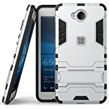 Heartly Graphic Designed Kick Stand Hard Dual Rugged Armor Hybrid Bumper Back Case Cover For Microsoft Lumia 650 Dual Sim - Champagne Silver