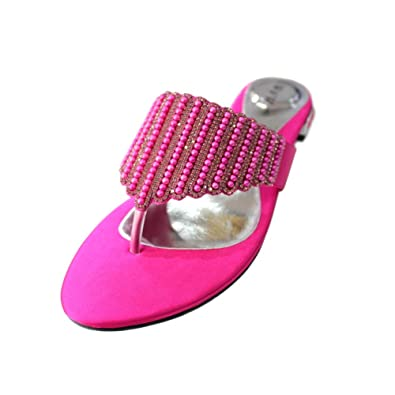W   W-CORA- WOMENS FLAT DIAMANTE TOE POST WOMENS SPARKLEY DRESSY PARTY  SANDALS 217c935d4a