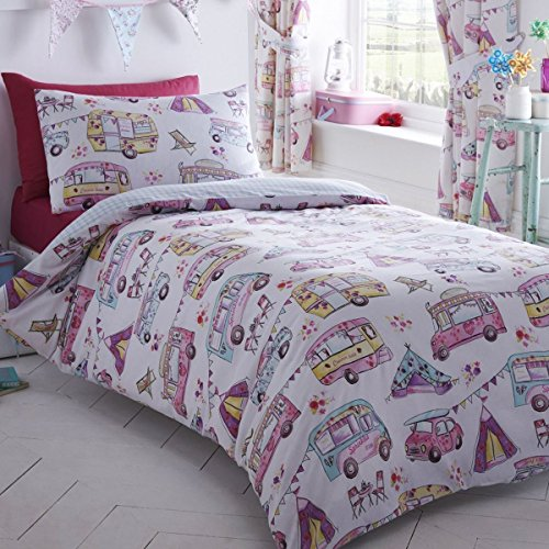 Kidz Club Reversible Design Glamping Caravan Duvet Quilt Cover and 2 Pillowcase Bedding Bed Set for Girls, White, - Uk Sizes Caravan