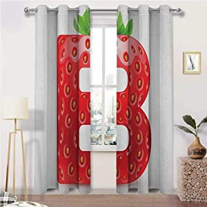 Window Curtain Panel Letter B Light Blocking Curtains Tropical Food and Capital B Delicious Looking Sweet Juicy Type Display Home/Office Artistic Décor 2 Grommet Top Curtain Panels, 42