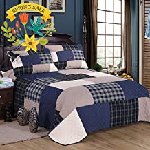 Cotton Patchwork Quilt Set King Grid Printed Quilt Coverlet Set Vintage Navy Blue Bedspread Set 3 Piece All Seasons Quilt Set with 2 Pillow Shams Luxury Quilt Set for Boys Girls Kids Adults, Style6