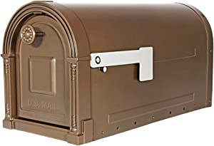 Gibraltar Mailboxes Garrison Large Capacity Galvanized Steel Venetian Bronze, Post-Mount Mailbox, GM160VB0