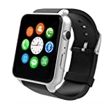 Wingtech GT88 Bluetooth Smart Watch Touch Screen IP57 Rainproof Smart Wrist Watch with Camera Sim Card Slot Sport Heart Rate Monitor Compatible with iOS Android Smartphones (Sliver)