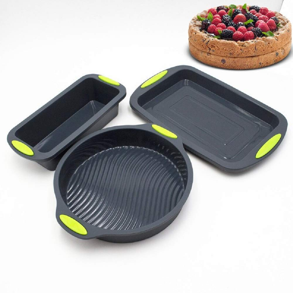Cake Pans Set 9 inch Round Shape 3D Silicone Baking Cake Molds DIY Baking Bakeware Tray And Several Baking Dish Sets (TM5001-3 pieces)