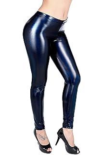 4e4a50b92b HDE Women's Shiny Holographic Leggings Liquid Metallic Pants ...