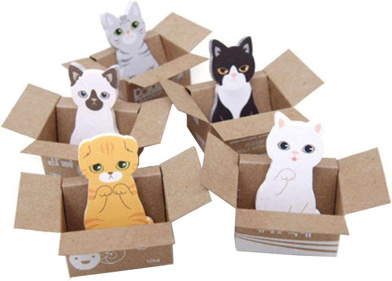 MIAO JIN 20 Pack Cat Shaped Sticky Notes Mini Sticker Bookmark Page Flags Index Tab Reminder Ticky Notes (5 Design, 600 Sheets in Total)