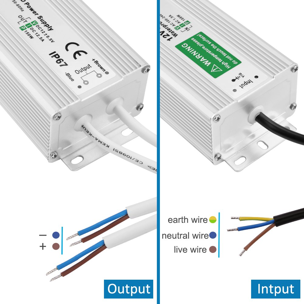 150W LED Power Supply Waterproof IP67 Driver Transformer 120 to 12 Volt DC Output, AC/DC 12V 12.5A Switching Power Supply by LEDMO (Image #6)
