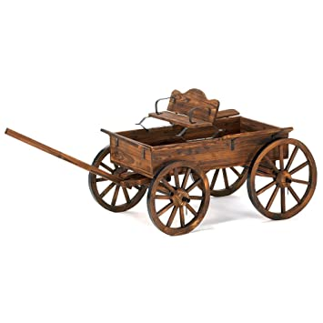 Buckboard Style Rustic Fir Wood Home Garden Decor Wagon