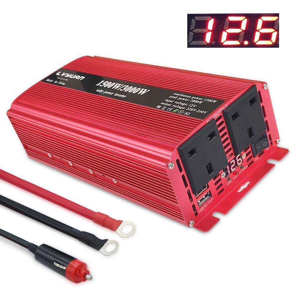 LVYUAN 1500 W/3000 W Power Inverter double CA prises et deux ports de recharge USB DC 12 V à 230 V 240V AC convertisseur GuangZhouLvYuan technology co. LTD
