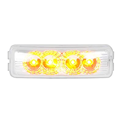 GG Grand General 77961 Amber/Clear Rect. Spyder 4Led Light, Lens: Automotive