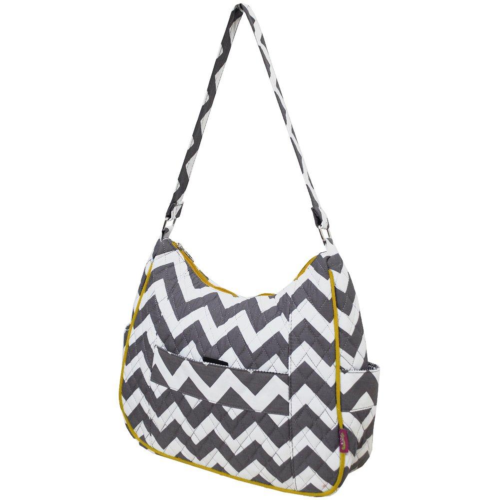Grey /& White Chevron Print Quilted Hobo Fashion Bag-yellow