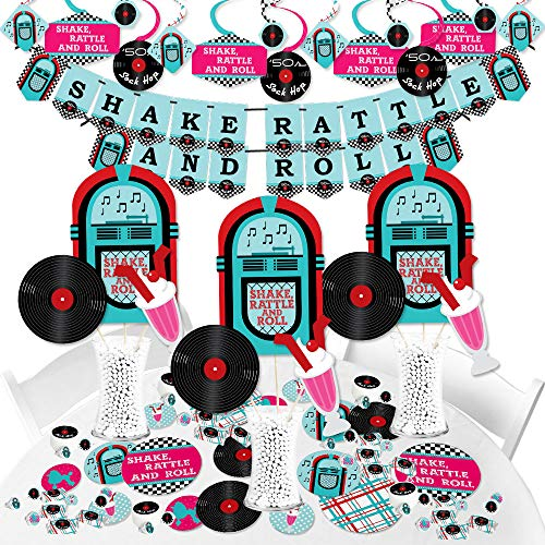 Big Dot of Happiness 50's Sock Hop - 1950s Rock N Roll Party Supplies - Banner Decoration Kit - Fundle ()