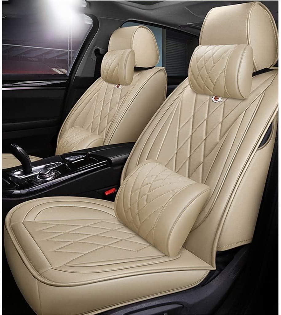RS4 A8 A5 Q5 A6 Q3 A4 Farbe : Beige Auto sitzbez/üge Universal Autositzbezug Full Set Wasserdichte PU Leder Auto Sitzkissen Schutz for Audi A3