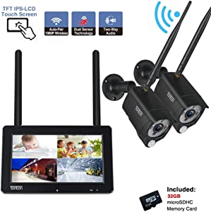 "[2-Way Audio]Tonton 1080P Portable LCD Security Camera System Wireless with 7"" IPS Touchscreen Monitor, 4CH NVR Kit and 2PCS 2.0MP Camera with PIR Sensor,Rechargeable Battery,32GB SD Card Preinstalled"