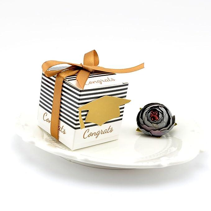 Amosfun 20pcs Scatole Regalo per Feste Kraft Paper Doctorial Hat Scatole di Caramelle Scatole di Favore con la Corda per la Laurea Bomboniere Forniture Decorazione Red