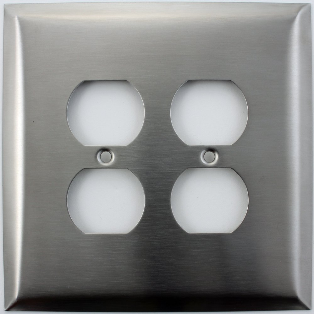 Over Sized Jumbo Satin Stainless Steel 2 Gang Duplex Outlet Switch Plate
