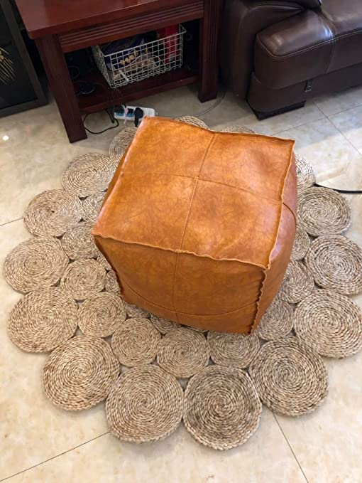 Superb Riseon Boho Handmade Faux Leather Moroccan Pouf Footstool Ottoman Leather Poufs Unstuffed 17 7 X17 7 Square Floor Cushion Footstool For Living Machost Co Dining Chair Design Ideas Machostcouk