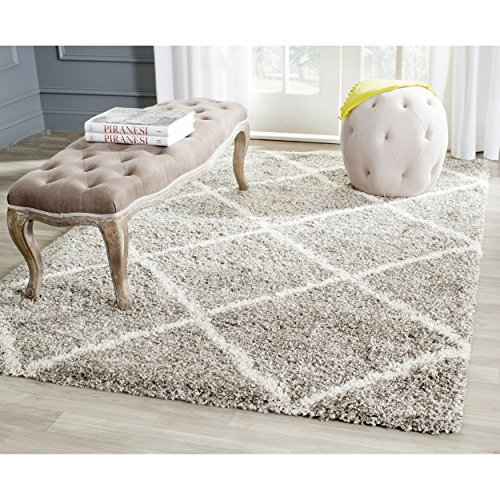 Safavieh Hudson Shag Collection SGH281B Grey and Ivory Area Rug, 8 feet by 10 feet (8' x 10')